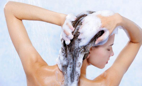 pretty elegancy woman taking shower